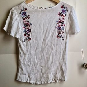 JUNIORS White Pink Boho Floral Embroidered Blouse